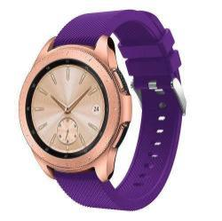 Okosóra szíj - szilikon, Twill mintás - LILA - 130mm + 85mm hosszú, 20mm széles, max 225mm-es csuklóra - SAMSUNG SM-R810NZ Galaxy Watch 42mm