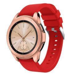 Okosóra szíj - szilikon, Twill mintás - PIROS - 130mm + 85mm hosszú, 20mm széles, max 225mm-es csuklóra - SAMSUNG SM-R810NZ Galaxy Watch 42mm
