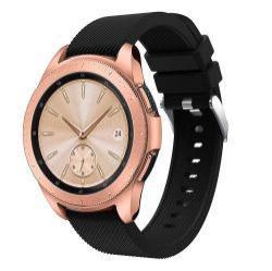 Okosóra szíj - szilikon, Twill mintás - FEKETE - 130mm + 85mm hosszú, 20mm széles, max 225mm-es csuklóra - SAMSUNG SM-R810NZ Galaxy Watch 42mm