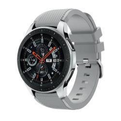 Okosóra szíj - szilikon, Twill mintás - SZÜRKE  - 125mm + 98mm hosszú, 22mm széles, max 215mm-es csuklóra - SAMSUNG Galaxy Watch 46mm / SAMSUNG Gear S3 Classic / SAMSUNG Gear S3 Frontier