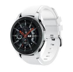 Okosóra szíj - szilikon, Twill mintás - FEHÉR - 125mm + 98mm hosszú, 22mm széles, max 215mm-es csuklóra - SAMSUNG Galaxy Watch 46mm / SAMSUNG Gear S3 Classic / SAMSUNG Gear S3 Frontier