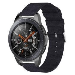 Okosóra szíj - szövet, 115mm + 90mm hosszú, 22mm széles - FEKETE - SAMSUNG Galaxy Watch 46mm / SAMSUNG Gear S3 Classic / SAMSUNG Gear S3 Frontier