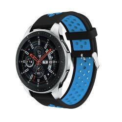 Okosóra szíj - légáteresztő, sportoláshoz, szilikon, max 205mm-es csuklóra - FEKETE / KÉK - SAMSUNG Galaxy Watch 46mm / SAMSUNG Gear S3 Classic / SAMSUNG Gear S3 Frontier