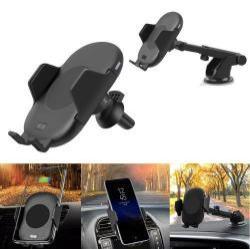 UNIVERZÁLIS gépkocsi / autós tartó - tapadókorongos szélvédőre, műszerfalra és szellőzőrácsra is rögzíthető, QI wireless vezetéknélküli funkció, 5V/1.5A, 9V/1.2A - FEKETE
