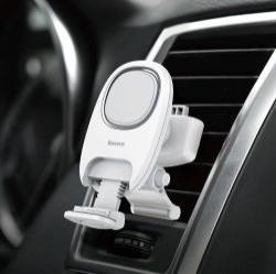 BASEUS Xiaochun Magnetic autós / gépkocsi tartó - mágneses, szellőzőrácsra rögzíthető - FEHÉR - GYÁRI