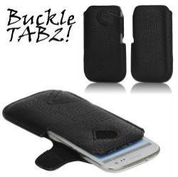 Buckle TAB2! bőrtok - álló, tépőzár, oldalt nyitott - XXL méret - FEKETE