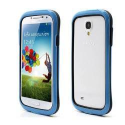 Szilikon védő keret - BUMPER - FEKETE / KÉK - SAMSUNG GT-I9500 / I9502 / I9505 Galaxy S IV.