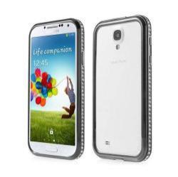 Alumínium védő keret - BUMPER - strassz köves minta - FEKETE - SAMSUNG GT-I9500 / I9502 / I9505 Galaxy S IV.