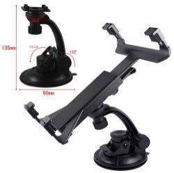 UNIVERZÁLIS TABLET PC gépkocsi / autó tartó - tapadókorongos / szélvédőre hyelezhető, 360°-ban elforgatható, 105mm - 145mm / 145mm - 250mm-ig állítható