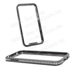 Alumínium védő keret - BUMPER - strasszköves minta - SZÜRKE - SAMSUNG SM-G900F Galaxy S5 / SAMSUNG SM-G901F Galaxy S5 LTE-A