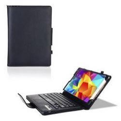 Flip / mappa tok álló, bőr - BLUETOOTH billentyűzet, asztali tartó, QWERTY, angol nyelvű! - FEKETE - IS11-STS10 - SAMSUNG SM-T700 Galaxy Tab S 8.4 WIFI / SAMSUNG SM-T705 Galaxy Tab S 8.4 LTE