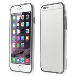 Szilikon védõ keret - BUMPER - 0,7 mm vékony! - ÁTLÁTSZÓ / FEKETE - APPLE iPhone 6