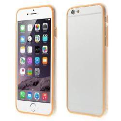 Szilikon védõ keret - BUMPER - 0,7 mm vékony! - ÁTLÁTSZÓ / NARANCS - APPLE iPhone 6