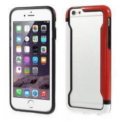 DUO szilikon védõ keret - BUMPER - FEHÉR / PIROS - APPLE iPhone 6