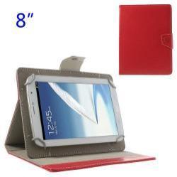 UNIVERZÁLIS notesz / mappa tablet PC tok - PIROS - álló, bõr, mágneses, asztali tartó funkciós, 8