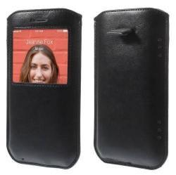 S-VIEW álló bőrtok - kihúzó pánttal, hívószámkijelzés, telefonáláshoz kivágások - FEKETE - APPLE iPhone 6 Plus