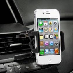 UNIVERZÁLIS gépkocsi / autós tartó - PRÉMIUM - szellőző rácsra helyezhető, 360°-ban forgatható - 50-70 mm-ig nyíló bölcsővel - FEKETE