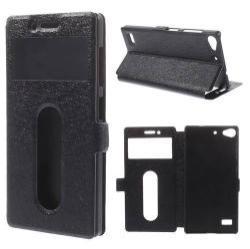 Notesz / flip tok - oldalra nyíló, hívószámkijelzõ és hívásfelvételnek kivágás, rejtett mágneses, asztali tartó funkció - FEKETE - Lenovo Vibe X2