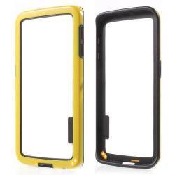 Szilikon védõ keret - BUMPER - SÁRGA / FEKETE - SAMSUNG SM-G925F Galaxy S6 Edge