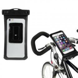 Telefon tartó kerékpár / bicikli - 360°-ban forgatható, 10m-ig vízálló vízhatlan levehető tokkal, vízálló fülhallgató - Apple Iphone 6 méret - FEKETE