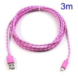 Adatátviteli kábel / USB töltő - microUSB 2.0, 3m hosszú - RÓZSASZÍN