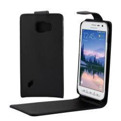 Flip tok - lefelé nyíló, rejtett mágneses záródás - FEKETE - SAMSUNG SM-G890 Galaxy S6 Active