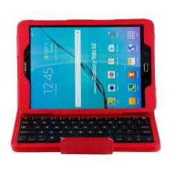 Notesz / mappa tok - PIROS - álló, bőr, asztali tartó funkciós, BLUETOOTH billentyűzet, QWERTY, angol nyelvű! - SAMSUNG SM-T810 / SM-T815 Galaxy Tab S2 9.7