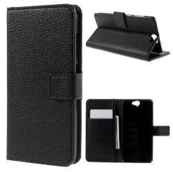 Notesz tok / flip tok - FEKETE - asztali tartó funkciós, oldalra nyíló, rejtett mágneses záródás, bankkártyatartó zseb - HTC One A9