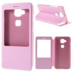 Műanyag védő tok / bőr hátlap - RÓZSASZÍN - oldalra nyíló S-View Cover flip, hívószám kijelzés, asztali tartó funkció - HUAWEI G8