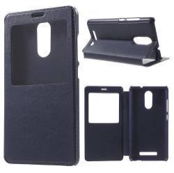 Mûanyag védõ tok -  SÖTÉTKÉK - oldalra nyíló ablakos flip cover, hívószám kijelzés, asztali tartó funkció - Xiaomi Redmi Note 3 / Redmi Note 3 (MediaTek) / Redmi Note 3 Pro