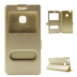 Mûanyag védõ tok / hátlap - ARANY - oldalra nyíló s-view cover flip, asztali tartó funkció, mágneses záródás, hívásfelvétel - HUAWEI P9 Lite