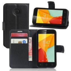WALLET notesz tok / flip tok - FEKETE - asztali tartó funkciós, oldalra nyíló, rejtett mágneses záródás, bankkártyatartó zseb, szilikon belső - VODAFONE Smart mini 7