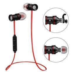 MAGNET SZTEREO SPORT bluetooth headset - PIROS, V4.0, felvevõ gomb, hangerõ szabályzó