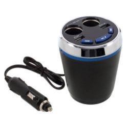 Szivargyújtó töltõ / autós töltõ elosztó - pohártartóba helyezhetõ, beépített FM transmitter, bluetooth  V3.0+EDR, USB aljzat 5V/2100mAh, pendrive olvasó funkció, audio gombok - FEKETE