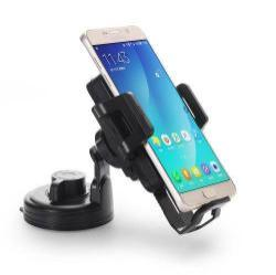 UNIVERZÁLIS gépkocsi / autós tartó - tapadókorongos és szellőző rácsra is rögzíthető, QI wireless vezetéknélküli funkció, 5V/1000mAh, 53-93mm-ig állítható bölcső - FEKETE