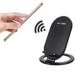 UNIVERZÁLIS asztali töltő / dokkoló - 2 tekercses, QI Wireless vezetéknélküli töltő funkció, 5V/1-1.5A / 9V/1.2A (Quick Charge 2.0/3.0 megfelelő töltőfejjel!) - FEKETE