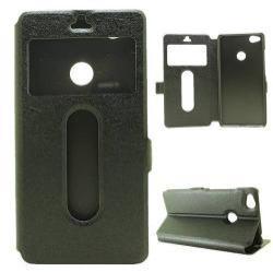 Mûanyag védõ tok / hátlap - FEKETE - oldalra nyíló ablakos flip cover, asztali tartó funkció, mágneses záródás, hívásfelvétel - ZTE nubia Z11 mini