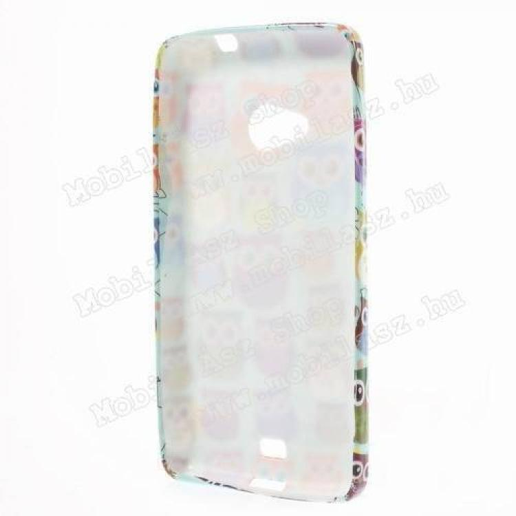 Szilikon védő tok / hátlap - SZÍNES BAGOLY MINTÁS - MICROSOFT Lumia 535