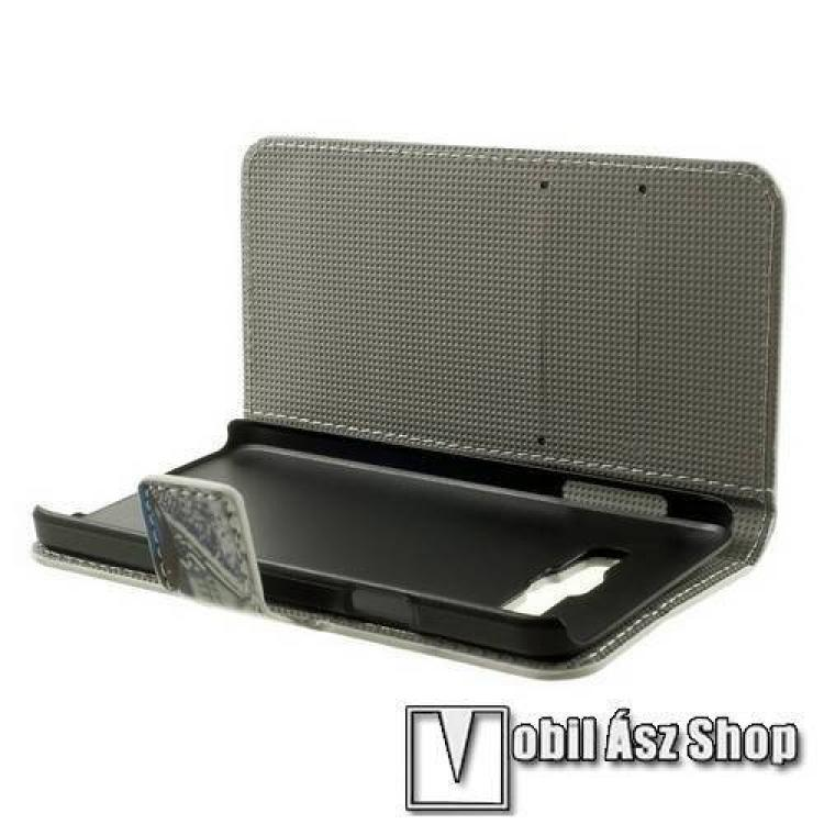 Notesz tok / flip tok - LEPKE MINTÁS - asztali tartó funkciós, oldalra nyíló, rejtett mágneses záródás, bankkártya tartó zseb - SZÜRKE / KÉK - SAMSUNG SM-A300F Galaxy A3