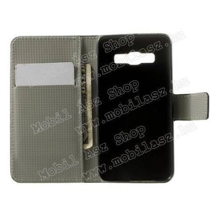 Notesz tok / flip tok - VIRÁG MINTÁS - asztali tartó funkciós, oldalra nyíló, rejtett mágneses záródás, bankkártya tartó zseb - FEHÉR / RÓZSASZÍN - SAMSUNG SM-A300F Galaxy A3