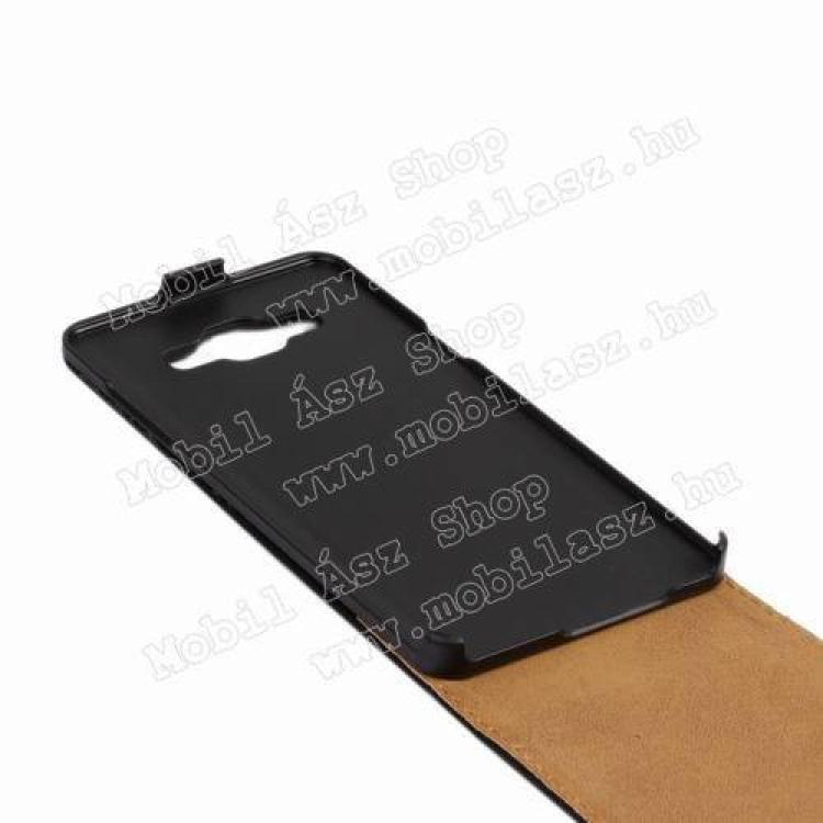 SLIM FLIP tok - lefelé nyíló, rejtett mágneses záródás - FEKETE - SAMSUNG SM-A500F Galaxy A5