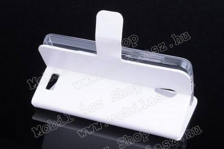 CRAZY notesz tok/ flip tok - FEHÉR - asztali tartó funkciós, oldalra nyíló, rejtett mágneses záródás - Lenovo A319