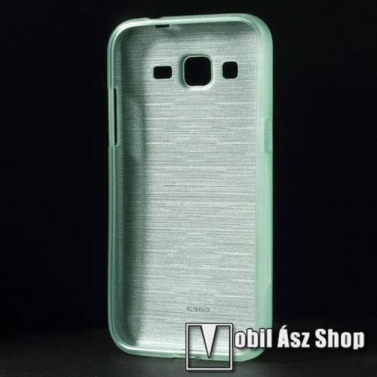Szilikon védő tok / hátlap - szálcsiszolt mintázat - CYAN KÉK - SAMSUNG SM-G360F Galaxy Core Prime