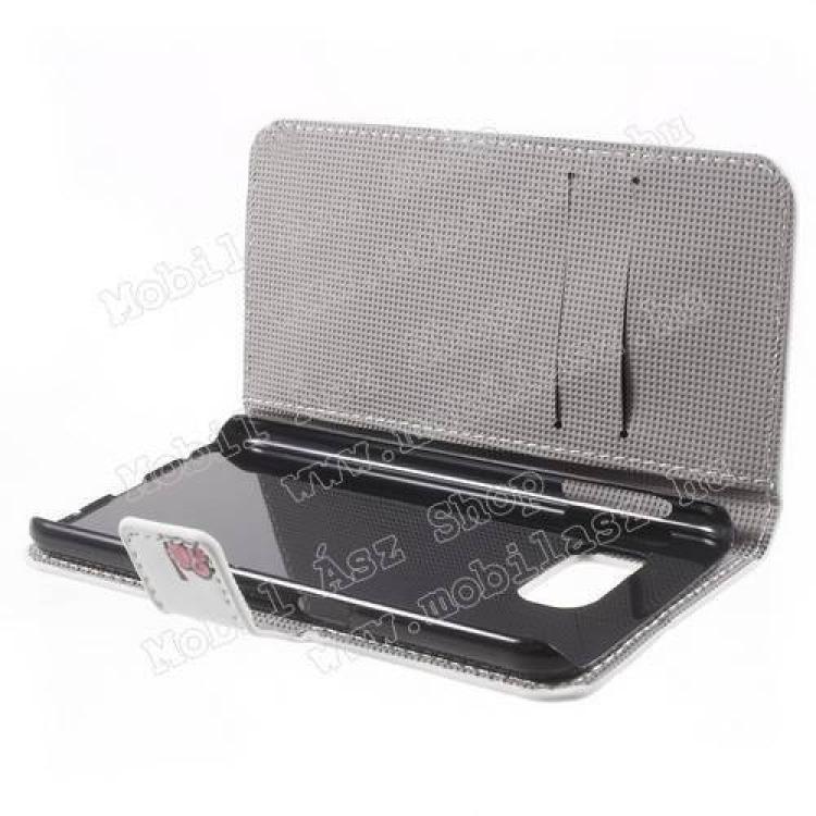 Notesz tok/ flip tok - BAGOLY MINTÁS - asztali tartó funkciós, oldalra nyíló, rejtett mágneses záródás, bankkártya tartó zsebekkel - FEHÉR - SAMSUNG SM-G920 Galaxy S6