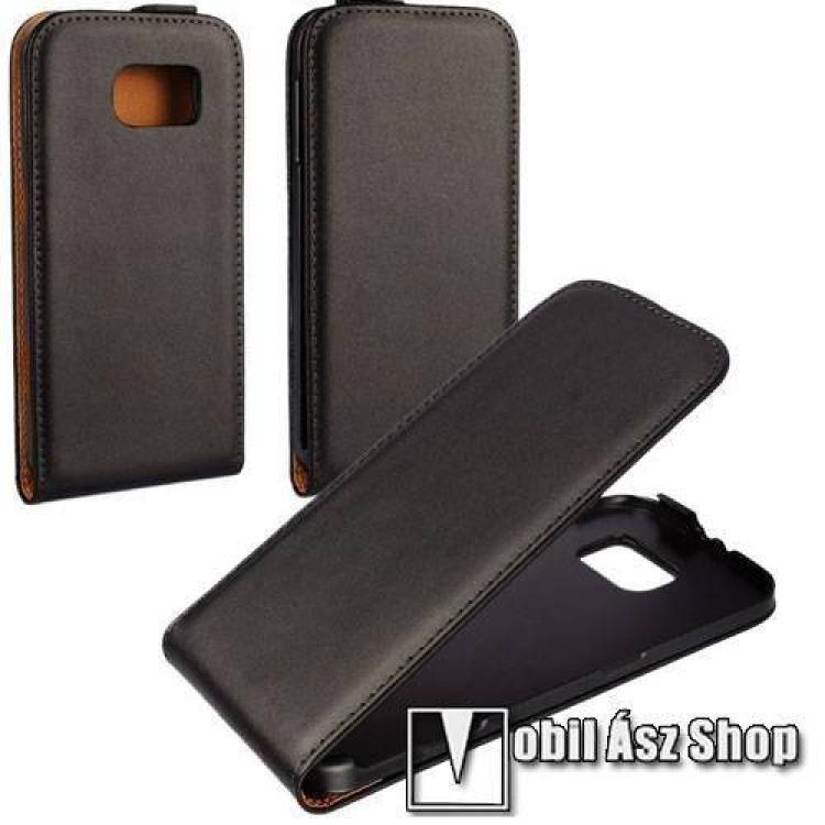 SAMSUNG Galaxy S6 (SM-G920)SLIM FLIP tok - lefelé nyíló, rejtett mágneses záródás - FEKETE - SAMSUNG SM-G920 Galaxy S6