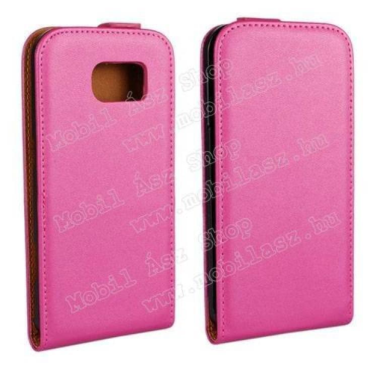 SAMSUNG Galaxy S6 (SM-G920)SLIM FLIP tok - lefelé nyíló, rejtett mágneses záródás - MAGENTA - SAMSUNG SM-G920 Galaxy S6