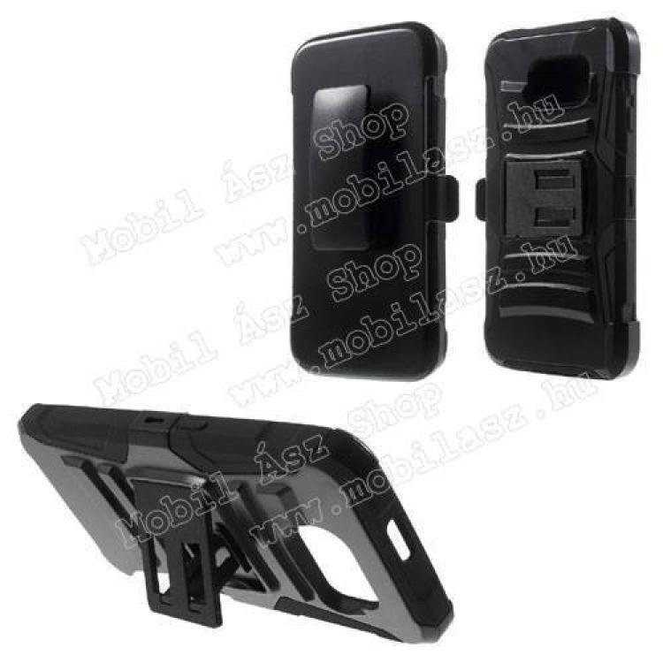 SAMSUNG Galaxy S6 (SM-G920)Defender műanyag védő tok  hátlap - szlikon betétes, övcsipesz, kitámasztó - ERŐS VÉDELEM! - FEKETE - SAMSUNG SM-G920 Galaxy S6
