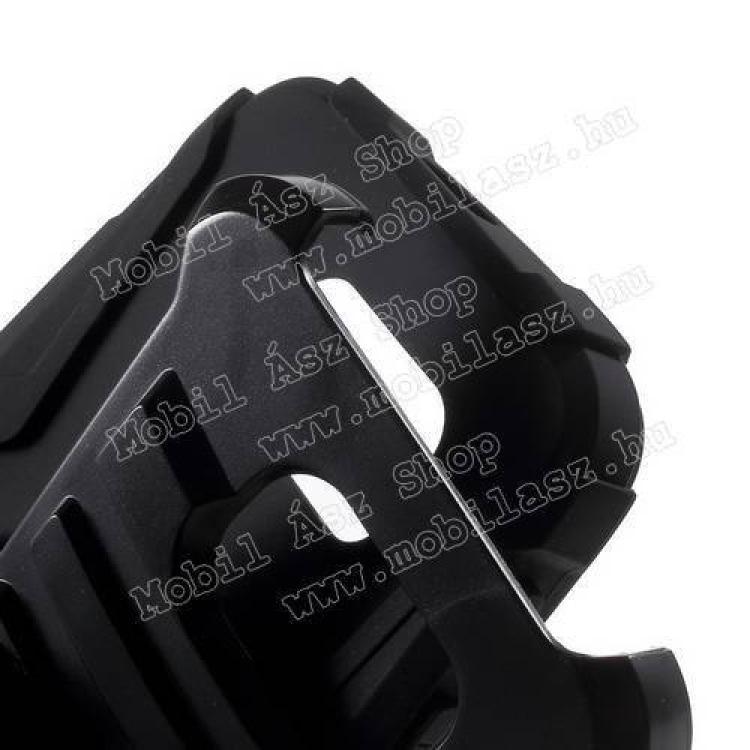 Defender műanyag védő tok / hátlap - szlikon betétes, övcsipesz, kitámasztó - ERŐS VÉDELEM! - FEKETE - SAMSUNG SM-G920 Galaxy S6