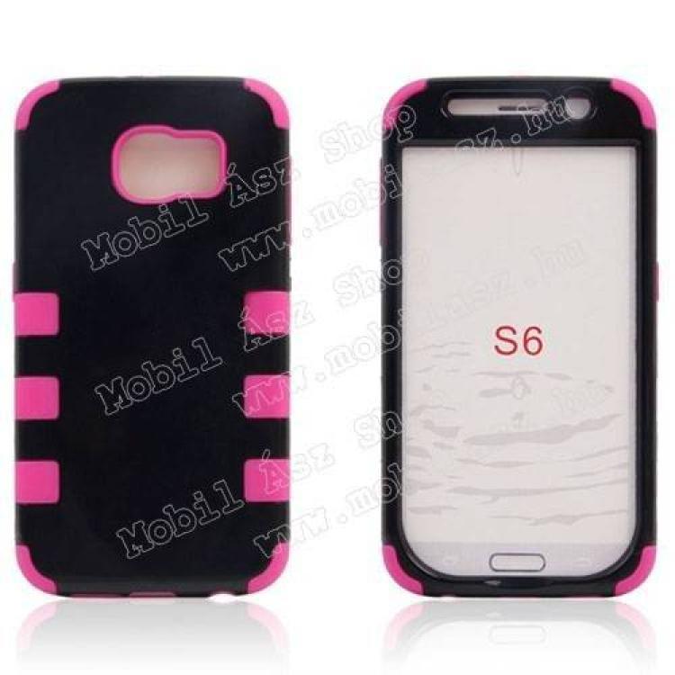 SAMSUNG Galaxy S6 (SM-G920)Műanyag védő tok  hátlap - szilikon betétes - ERŐS VÉDELEM! - FEKETE  RÓZSASZÍN - SAMSUNG SM-G920 Galaxy S6