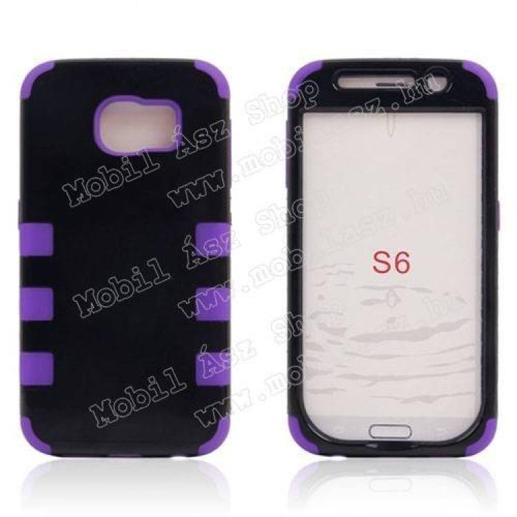 SAMSUNG Galaxy S6 (SM-G920)Műanyag védő tok  hátlap - szilikon betétes - ERŐS VÉDELEM! - FEKETE  LILA - SAMSUNG SM-G920 Galaxy S6